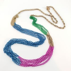J. Crew Layer Necklace Pop Colors Green Blue Pink